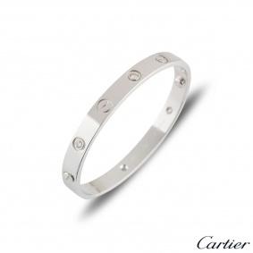 Cartier 18k White Gold Half Diamond Love Bangle Size 17 B6035817